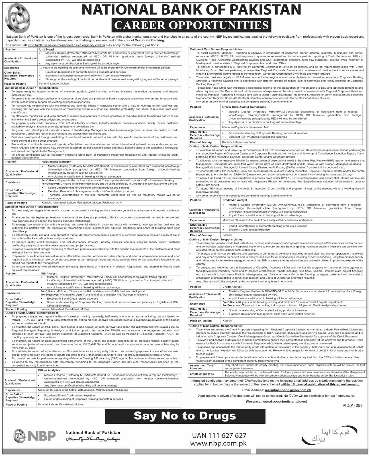 Jobs in National Bank Of Pakistan NBP Jobs 2019 August