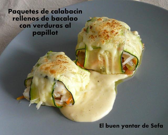 Paquetes de calabacín rellenos de bacalao con verduras al papillot El buen yantar de Sefa