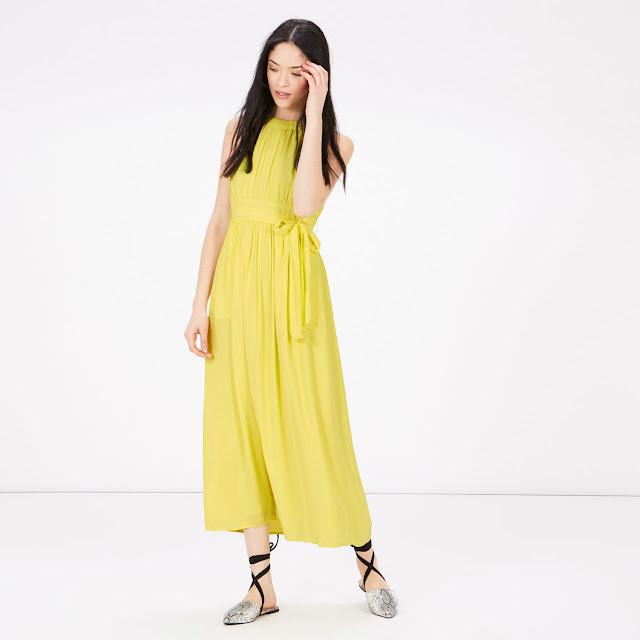 warehouse yellow dress, yellow tie waist dress,
