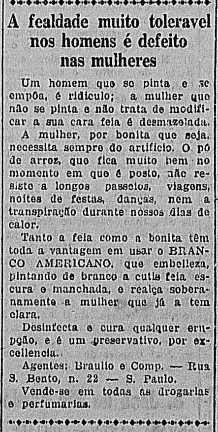 Campanha com um texto publicitário bizarro para promover a venda de pó-de-arroz em 1922