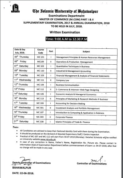 Date Sheet M.Com. Supplementary 2017 Annual 2018 IUB Islamia University Bahawalpur
