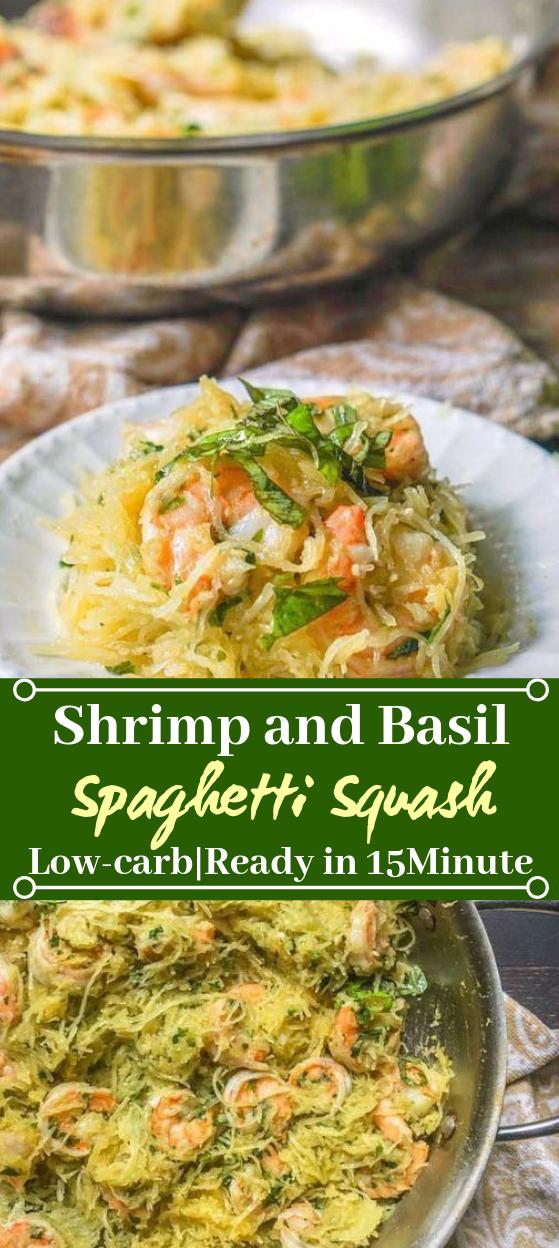 Shrimp & Basil Spaghetti Squash #healthy #glutenfree