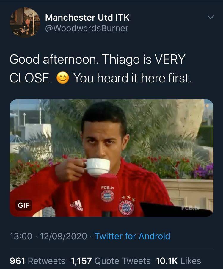 Bayern Munich hints Thiago Alcantara has agreed terms with Liverpool, Man Utd