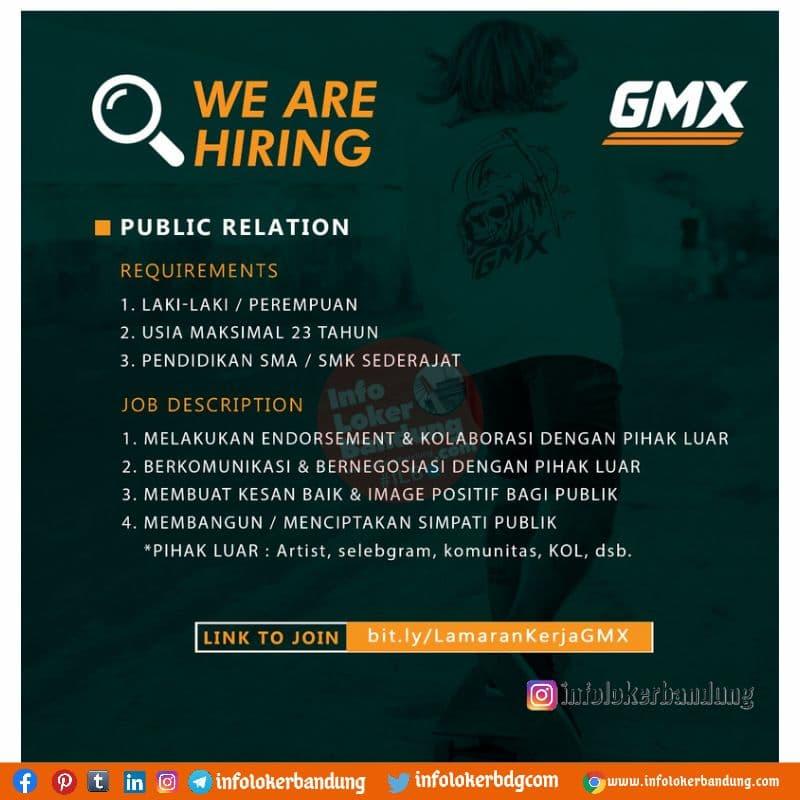 Lowongan Kerja Public Relation & Project Management GMX Bandung Juli 2021
