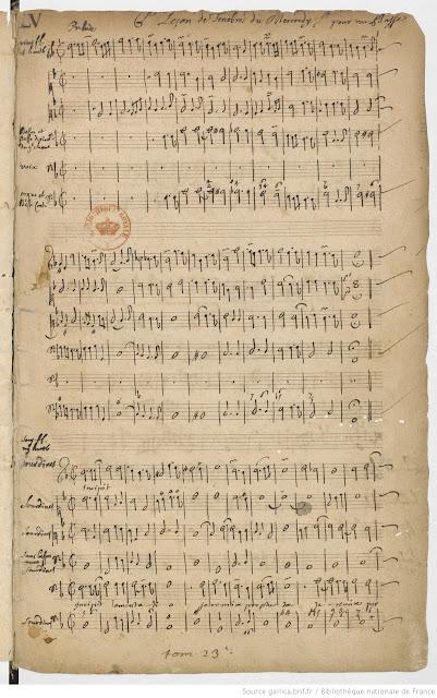 Partition manuscrite de Charpentier pour ses Leçons de ténèbres