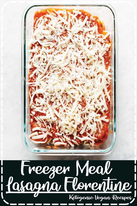 This Freezer Meal Lasagna Florentine is so deliciously comforting and simple. Noodles, tomato sauce, and a creamy spinach layer! #freezermeal #pasta #vegetarian #recipe #dinner