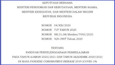 Keputusan Bersama Menteri Tentang Panduan Penyelenggaraan Pembelajaran Tatap Muka dimasa Pandemi Covid-19