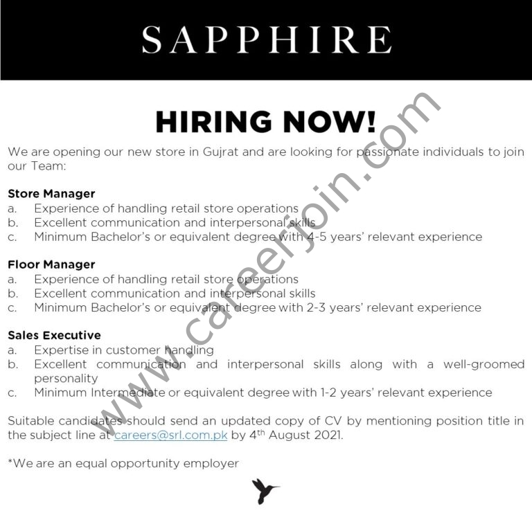 Jobs in Sapphire Retail Limited SRL