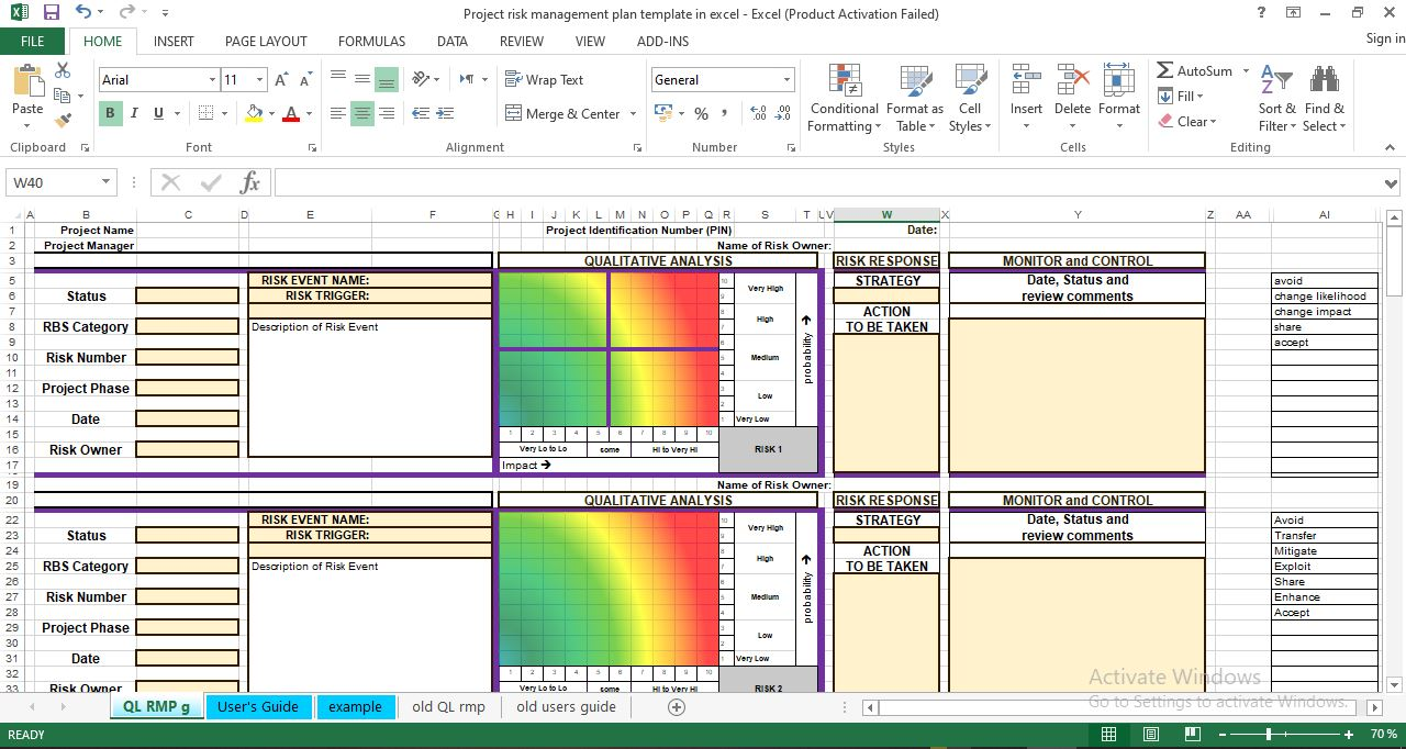 Project risk management plan template excel