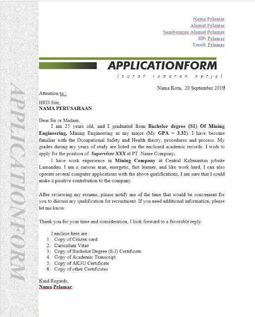 Contoh Surat Lamaran Kerja Application Letter Tahun 2019 Halo Hse