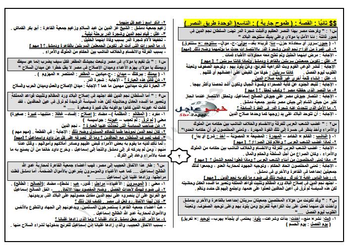 """مراجعة ليلة الامتحان لمادة اللغة العربية """" 20 ورقة """" لن يخرج منها الامتحان للشهادة الاعدادية"""