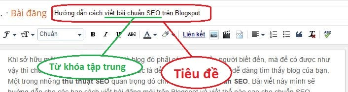 Tiêu đề và Từ khóa tập trung bài viết blogspot
