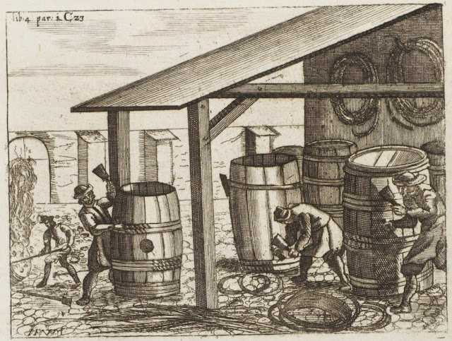 17th century engraving - coopers making barrels