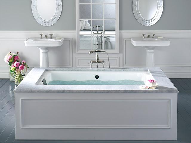 Grey Contemporary Bathroom With A Drop In Tub And Alcove: Fiorito Interior Design: Rub-A-Dub-Dub: The Skinny On Bath