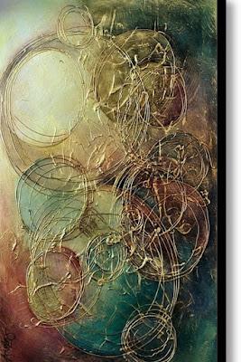 Abstract acrylic texture with circular ring design