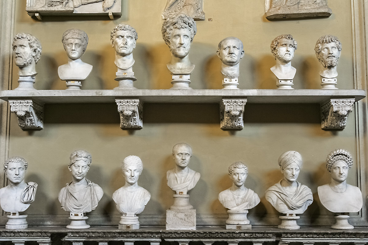 Marble busts at the Vatican Museum