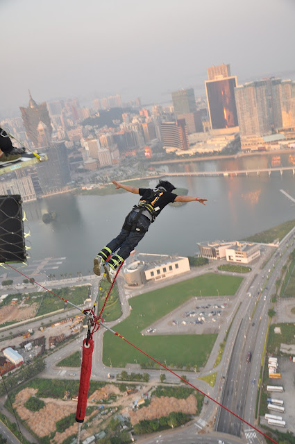 Ed's bungy jump at Macau Tower