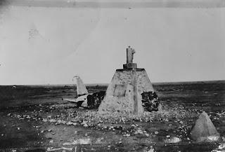 The site of the crash, including a makeshift grave, in which Balbo died when his place was shot down over Libya