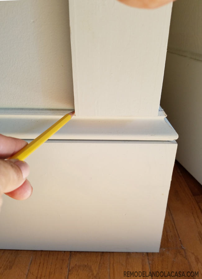 marking baseboard part to be cut off