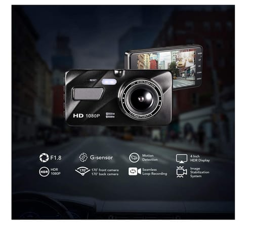 GSSUSA FHD Front and Rear Dual Dash Cam for Cars
