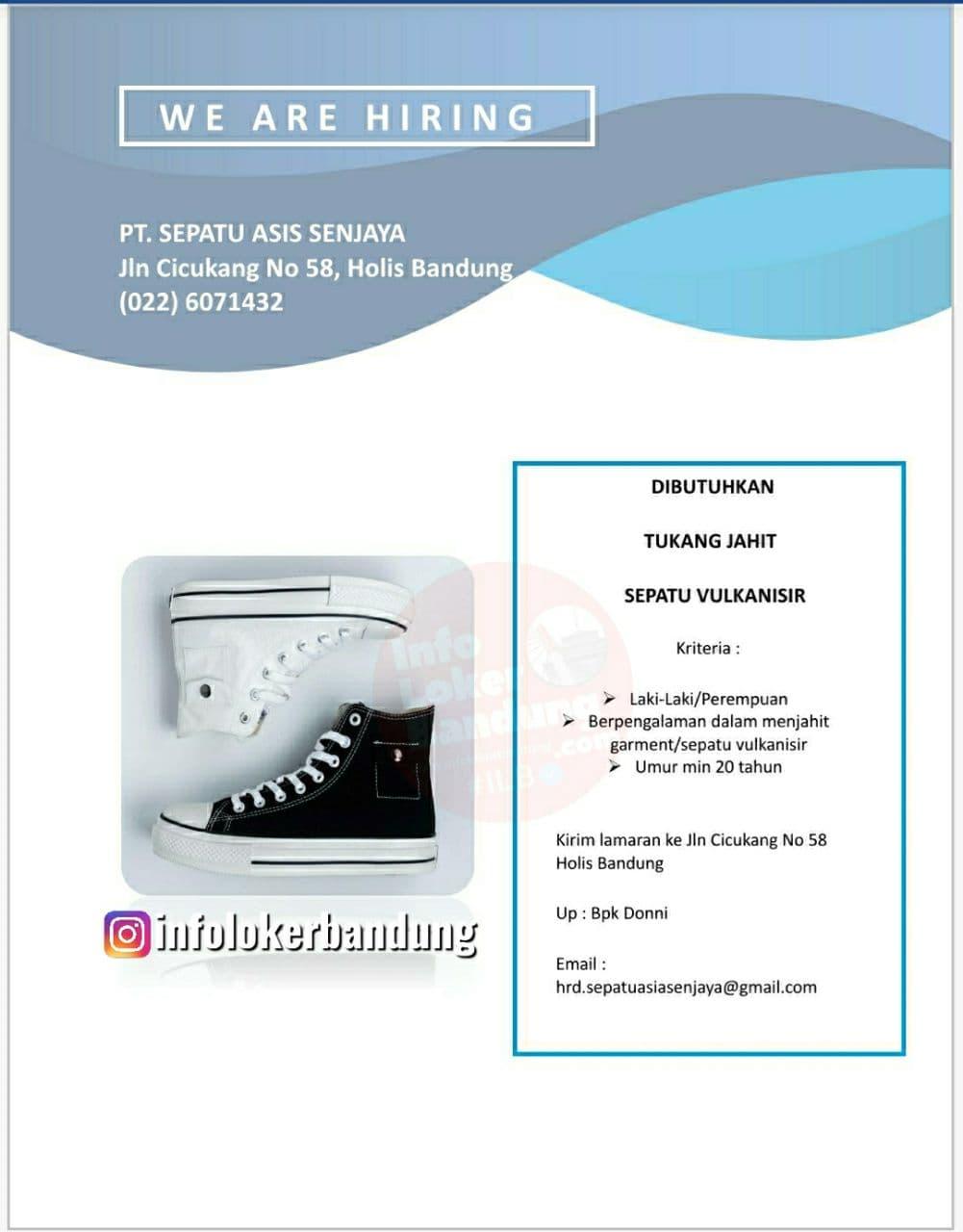 Lowongan Kerja Tukang Jahit Sepatu Vulkanisir PT. Sepatu Asis Senjaya Bandung Agustus 2021