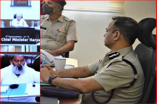faridabad-police-cp-op-singh-meeting-with-cm-hm-news