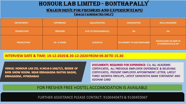 HONOUR LAB LIMITED WalkIn Drive for Freshers and Experienced Candidates on 19th and 20th Dec 2020
