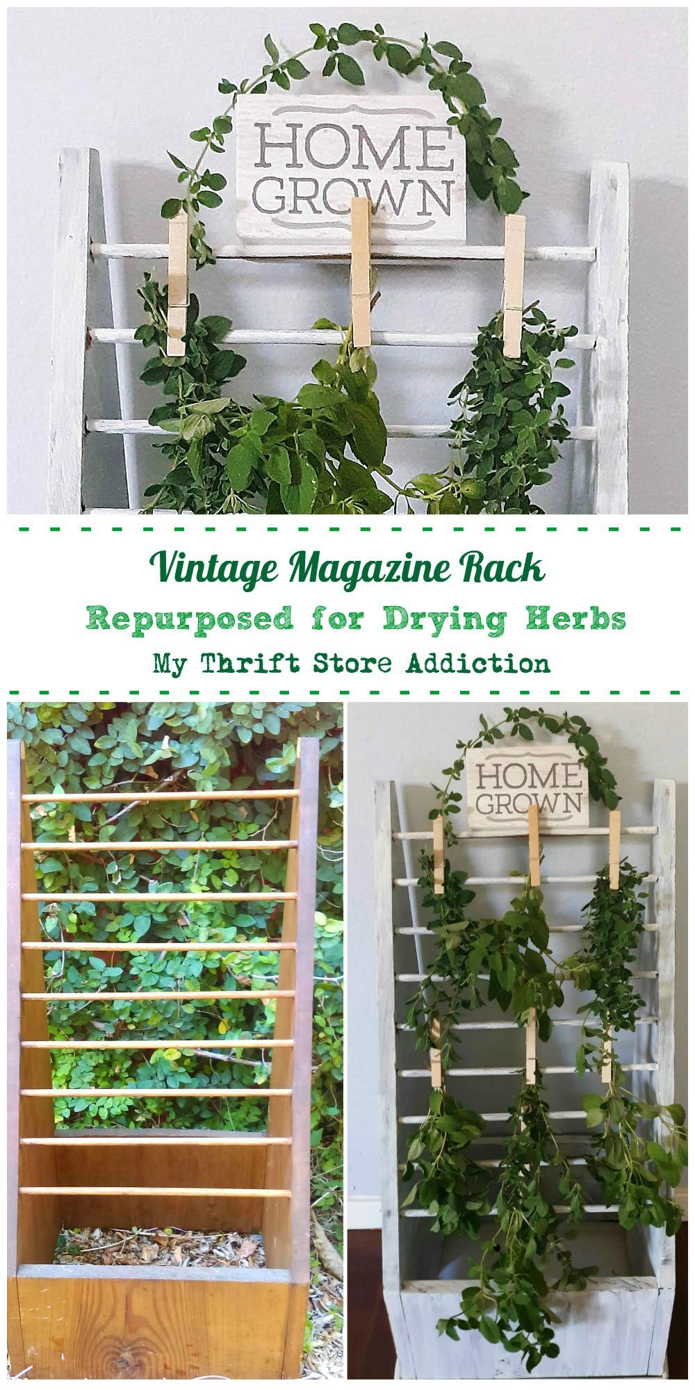 repurposed vintage herb drying rack