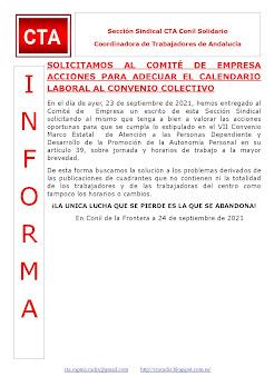 SOLICITAMOS AL COMITÉ DE EMPRESA ACCIONES PARA ADECUAR EL CALENDARIO LABORAL AL CONVENIO COLECTIVO