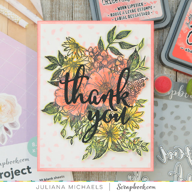 Thank You Card by Juliana Michaels. Created using stamps and dies with Scrapbook.com's Exclusive Sticker Paper