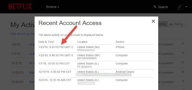 Netflix account - recent access