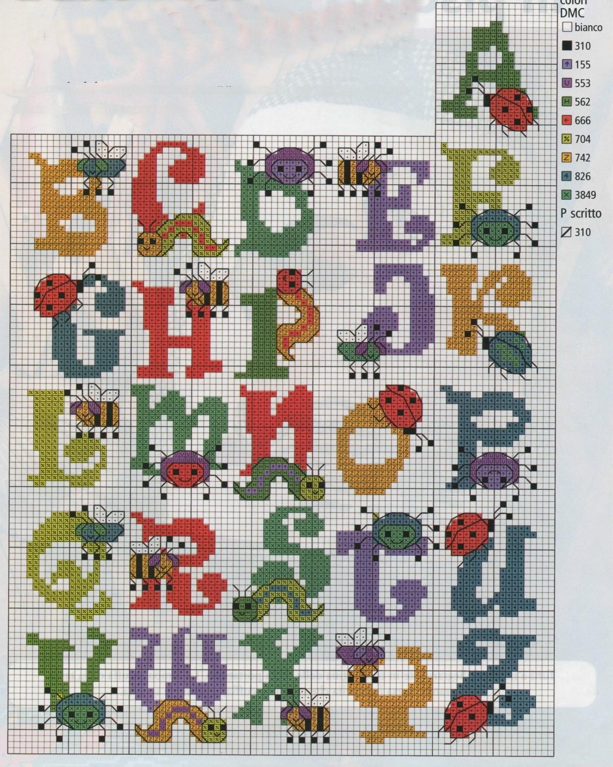 Professione donna schema punto croce alfabeto con gli for Alfabeto a punto croce per neonati
