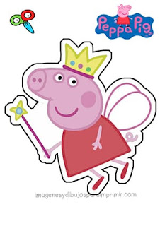 Peppa pig disfrazada de hada para recortar