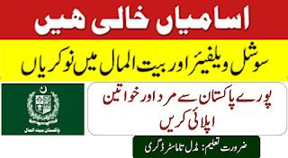 Pakistan Bait ul Maal 2019 jobs - Online apply (100 + Seats)