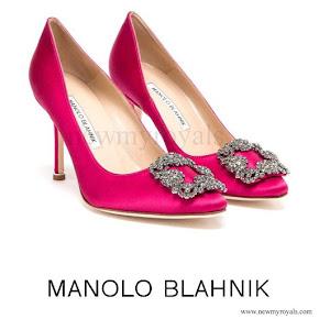Princess Sofia wore Manolo Blahnik Hangisi Embellished Satin Pumps