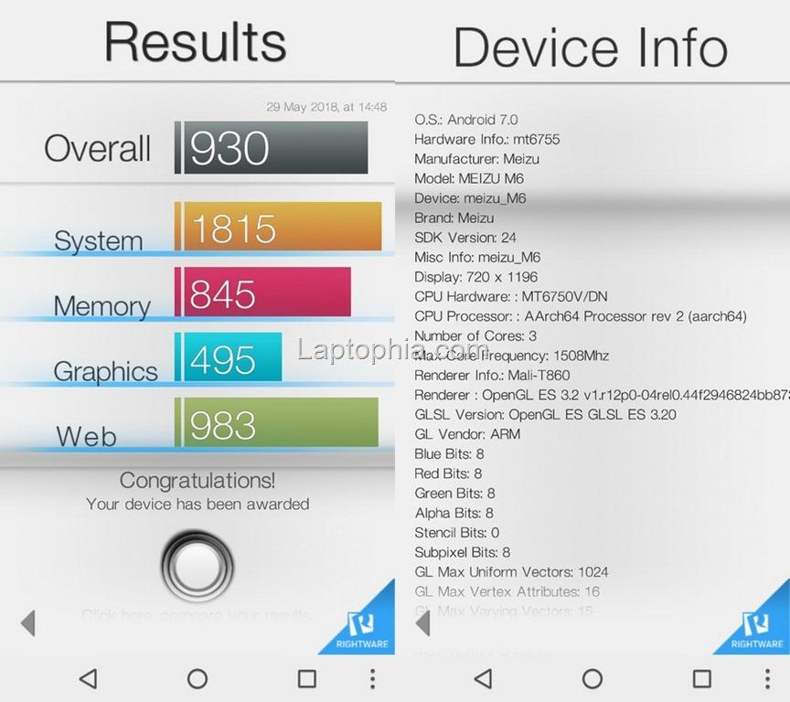 Benchmark Basemark OS II Meizu M6