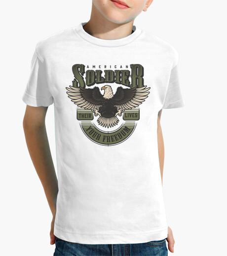 camisetas, niños, militares,