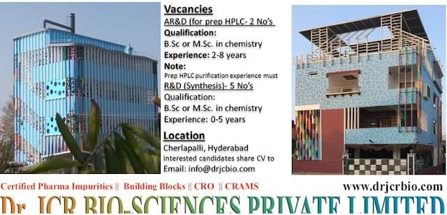 Dr.JCR BIO-SCIENCES PVT. LTD. Hiring for AR&D/R&D Synthesis Share Your CV