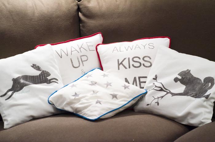 własnoręcznie szyte poszewki na poduszki