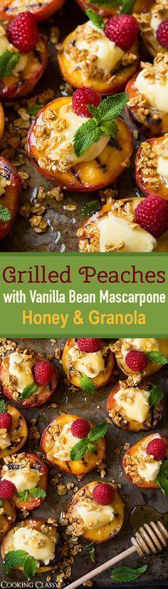 Grilled Peaches with Vanilla Bean Mascarpone, Honey and Granola