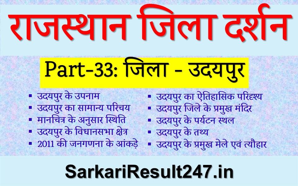 Udaipur District GK in Hindi, Udaipur jila gk in Hindi, Udaipur Zila Darshan