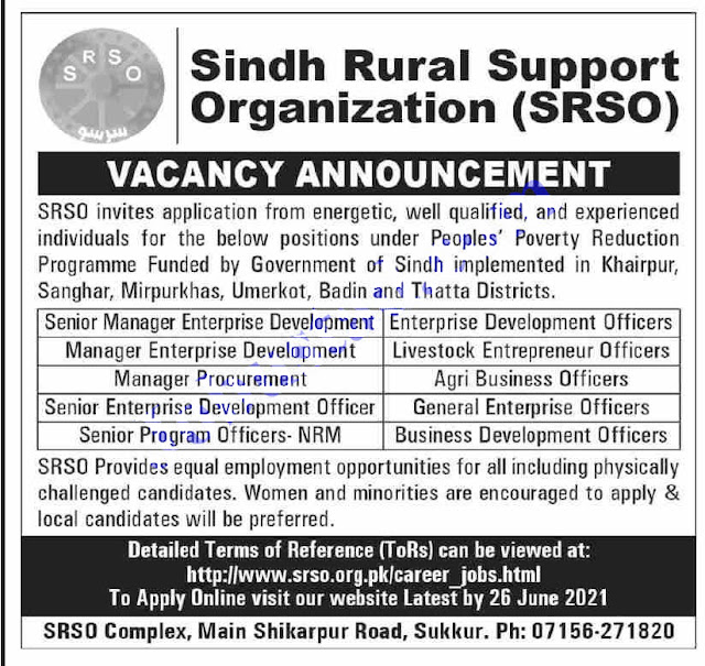 Sindh Rural Support Organization Jobs 2021 | SRSO jobs 2021