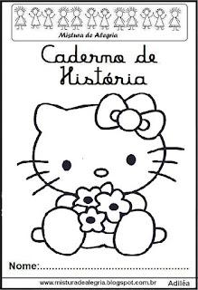 Capa caderno história Hello Kitty