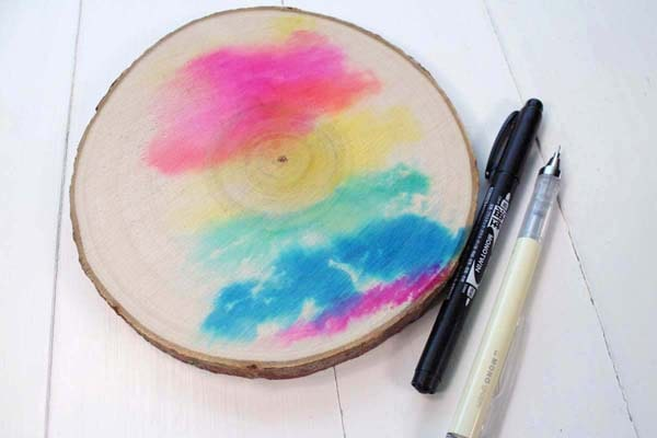 Watercolor wash wood slice tutorial