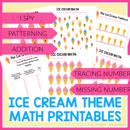 ICE CREAM MATH PRINTABLES