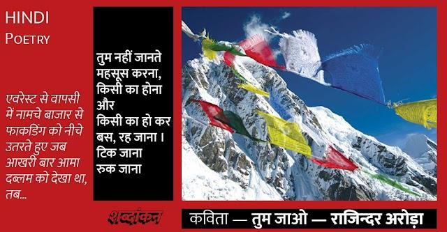 Hindi Poetry: माउंट एवरेस्ट से... — तुम जाओ — राजिन्दर अरोड़ा की कविता