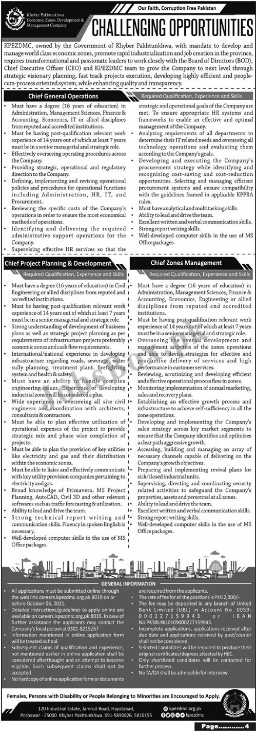 kpezdmc.org.pk - KPEZDMC KPK Economic Zones Development and Management Company Jobs 2021 in Pakistan
