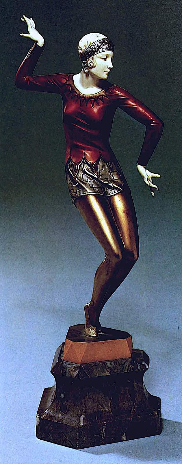 a Ferdinand Preiss 1920s statuette of a woman dancer