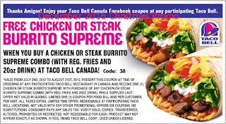 free Taco Bell coupons december 2016