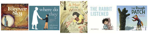 Book covers: The Forever Sky, Where do They Go? A Map Into the World, The Rabbit Listened, The Rough Patch